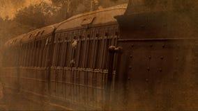 Съемка старого стиля поезда пара и экипажей 4K видеоматериал