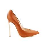 Съемка студии коричневого цвета высоко-накренила женский ботинок Стоковая Фотография