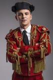 Съемка студии человека одетая как испанский язык матадор Стоковая Фотография RF