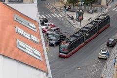 Съемка трамвая в Праге стоковое фото