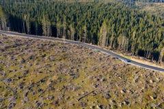 Съемка трутня обезлесения воздушная стоковое изображение