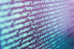 Съемка экрана с случайными частями кода программы Предохранение хакера безопасностью интернета стоковое изображение