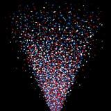 Съемка Reb, голубых и белых confetti карамболя иллюстрация штока