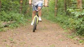 Съемка Steadicam катания велосипеда на горной тропе акции видеоматериалы