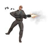 Съемки включения крутой парень с крупнокалиберным пулеметом Стоковые Изображения RF