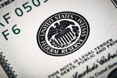 Съемки конца-вверх в объективе макроса от 100 долларов банкноты Стоковое Изображение