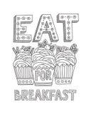 Съешьте десерт для завтрака иллюстрация вектора