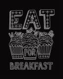 Съешьте десерт для завтрака иллюстрация штока