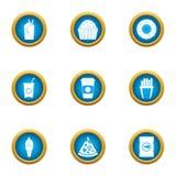 Съешьте жадно установленные значки, плоский стиль бесплатная иллюстрация