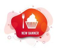 Съешьте значок знака Вилка десерта с булочкой r иллюстрация вектора
