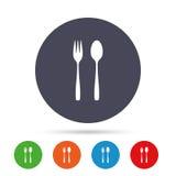 Съешьте значок знака Вилка и чайная ложка десерта бесплатная иллюстрация