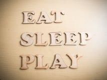 Съешьте игру сна, мотивационную концепцию цитат слов стоковая фотография rf