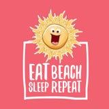 Съешьте иллюстрацию шаржа концепции вектора повторения пляжа сна или плакат лета характер солнца вектора в стиле фанк с смешным бесплатная иллюстрация