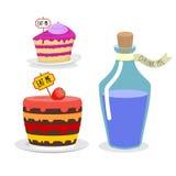 Съешьте меня торт Выпейте меня зелье Установите еду для Алисы в стране чудес иллюстрация вектора