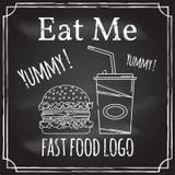 Съешьте меня Элементы на теме ресторанного бизнеса Чертеж мелка на классн классном Логотип, клеймя, логотип, значок с иллюстрация вектора