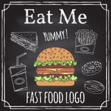 Съешьте меня Элементы на теме ресторанного бизнеса бесплатная иллюстрация