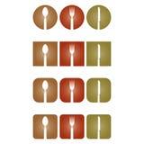 Съешьте логотип столового прибора, ресторана и кашевара бесплатная иллюстрация