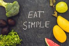 Съешьте простое пишет на доске мела Очистите концепцию еды стоковые изображения