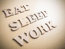 Съешьте работу сна, мотивационную концепцию цитат слов стоковые фотографии rf