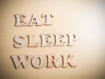 Съешьте работу сна, мотивационную концепцию цитат слов стоковое изображение rf