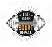 съешьте сон squat повторение Печать спортзала мотивационная с grunge ef иллюстрация вектора