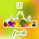 Съешьте состав свежих фруктов на яркой предпосылке Стоковые Изображения