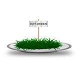 съешьте текст плиты зеленого цвета травы Стоковая Фотография RF