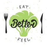 Съешьте лучше, чувство лучше с зеленым брокколи бесплатная иллюстрация