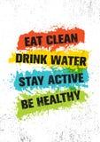 Съешьте чистое Вода питья Active пребывания Плакат оформления Воодушевляя знак иллюстрации цитаты мотивировки спортзала разминки  бесплатная иллюстрация