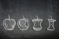 Съеденные яблоки Стоковые Изображения RF