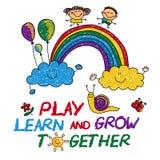 Сыграйте выучите и вырастите совместно иллюстрация штока