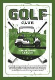 Сыграйте в гольф автомобиль и гольф-клуб на плакате вектора лужайки ретро Стоковые Фото