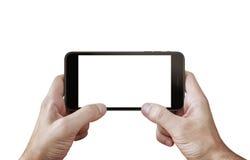 Сыграйте игру на сцене изолированной мобильным телефоном для модель-макета Стоковые Фотографии RF