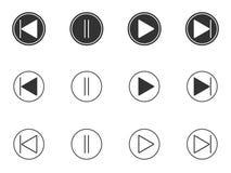 Сыграйте, сделайте паузу, передние, отсталые установленные значки кнопок иллюстрация штока