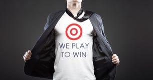Сыграйте для того чтобы выиграть в деле, молодом успешном бизнесмене Стоковые Фотографии RF