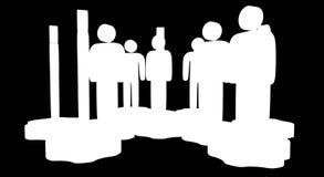 Сыгранность Группа в составе стилизованная стойка людей на шестернях иллюстрация вектора