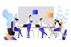 Сыгранность, сотрудничество, концепция партнерства Иллюстрация стиля вектора плоская Бизнесмены имеют метод мозгового штурма в оф бесплатная иллюстрация