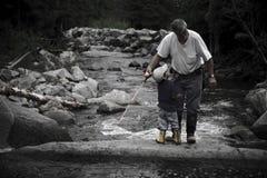 сынок деда рыболовства Стоковое фото RF