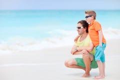 сынок отца пляжа Стоковые Фото