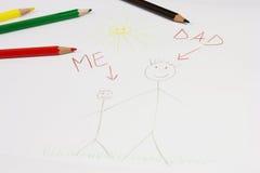 сынок отца чертежа Стоковые Изображения