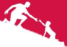 сынок папаа помогая Стоковое Фото