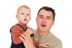 сынок рта взгляда отца открытый Стоковое Фото