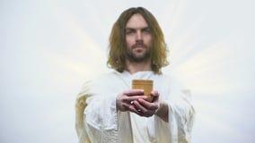 Сын бога держа вино, сакраментальную евхаристию в католической церкви, общность видеоматериал