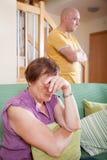 Сын и пожилая мать во время ссоры Стоковая Фотография RF