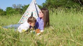 Сын мамы ест на пикнике в лесе видеоматериал