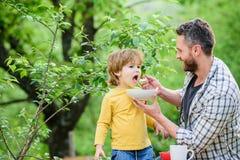 Сын отца съесть еду и иметь потеху Привычки питания Еда мальчика и папы Питание для детей и взрослых r стоковая фотография