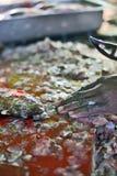 Сырая рыба и рука ` s рыболова Стоковая Фотография RF