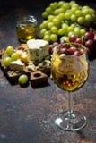 сырная доска, плодоовощ и стекло белого вина на темной предпосылке Стоковое Фото