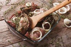 Сырое мясо в зеленом маринаде с луками в крупном плане шара Hori Стоковые Изображения RF