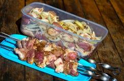 Сырое мясо, делая kebab Протыкальники готовые для жарить и частей свинины с луком перчат в контейнере на деревянном столе Стоковая Фотография